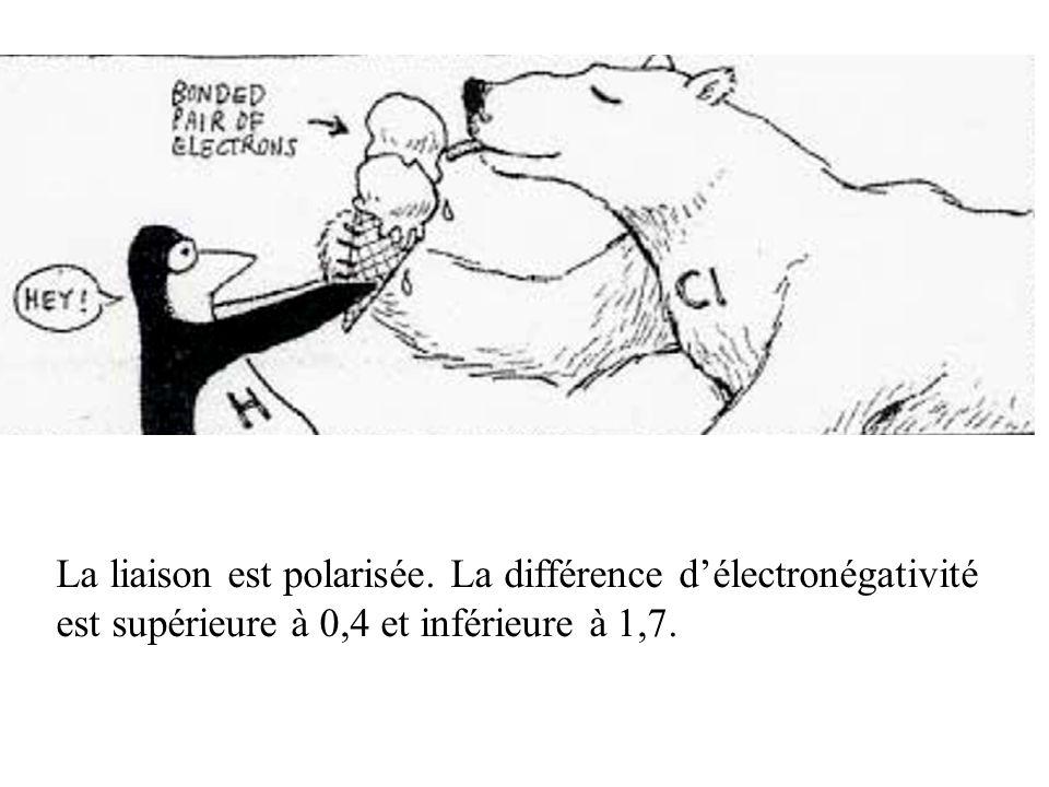 La liaison est polarisée. La différence délectronégativité est supérieure à 0,4 et inférieure à 1,7.