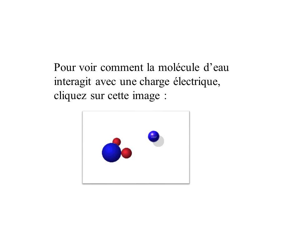 Pour voir comment la molécule deau interagit avec une charge électrique, cliquez sur cette image :