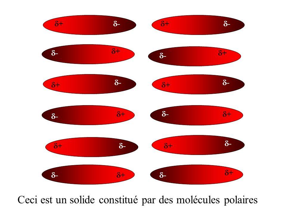 + - + - + - + - + - + - + - + - + - + - + - + - Ceci est un solide constitué par des molécules polaires