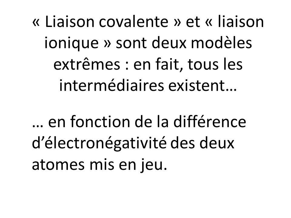 « Liaison covalente » et « liaison ionique » sont deux modèles extrêmes : en fait, tous les intermédiaires existent… … en fonction de la différence dé