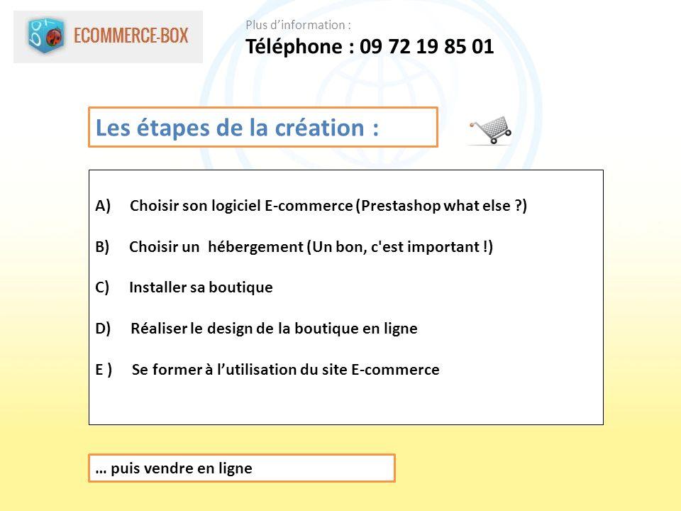 Les étapes de la création : A) Choisir son logiciel E-commerce (Prestashop what else ?) B) Choisir un hébergement (Un bon, c est important !) C) Installer sa boutique D) Réaliser le design de la boutique en ligne E ) Se former à lutilisation du site E-commerce … puis vendre en ligne Téléphone : 09 72 19 85 01 Plus dinformation :