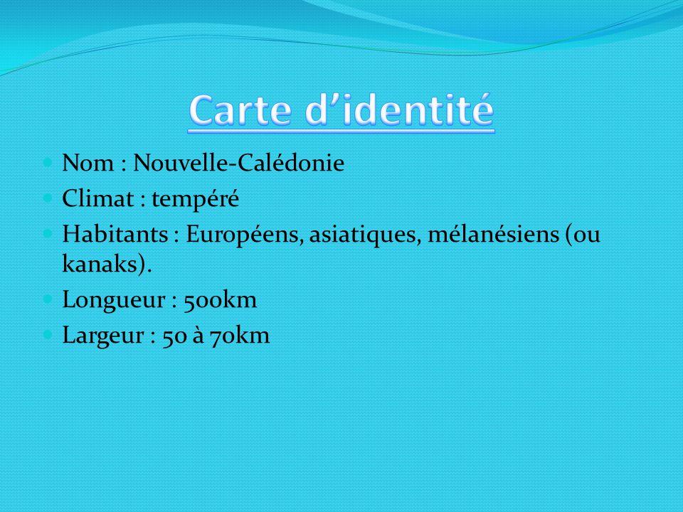 Nom : Nouvelle-Calédonie Climat : tempéré Habitants : Européens, asiatiques, mélanésiens (ou kanaks).