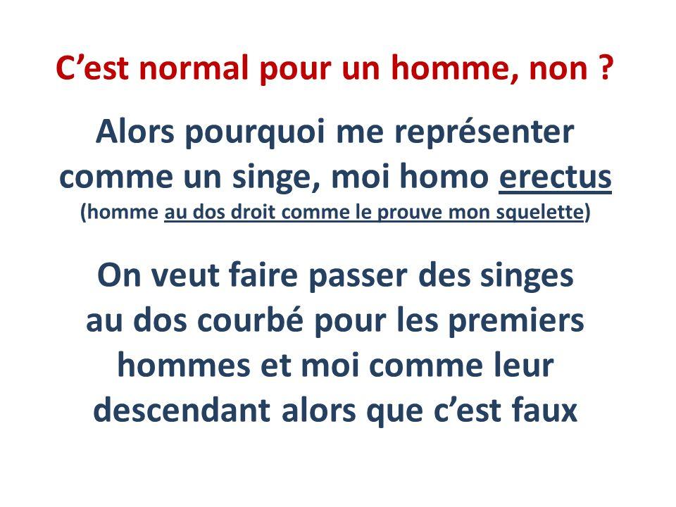Cest normal pour un homme, non ? Alors pourquoi me représenter comme un singe, moi homo erectus (homme au dos droit comme le prouve mon squelette) On