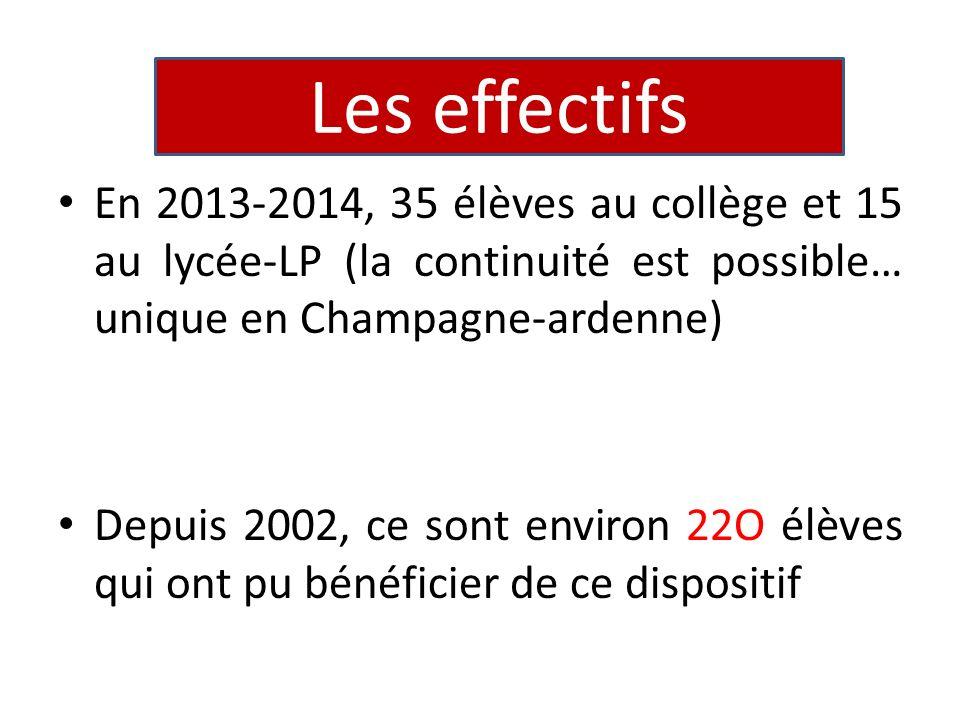 En 2013-2014, 35 élèves au collège et 15 au lycée-LP (la continuité est possible… unique en Champagne-ardenne) Depuis 2002, ce sont environ 22O élèves qui ont pu bénéficier de ce dispositif Les effectifs