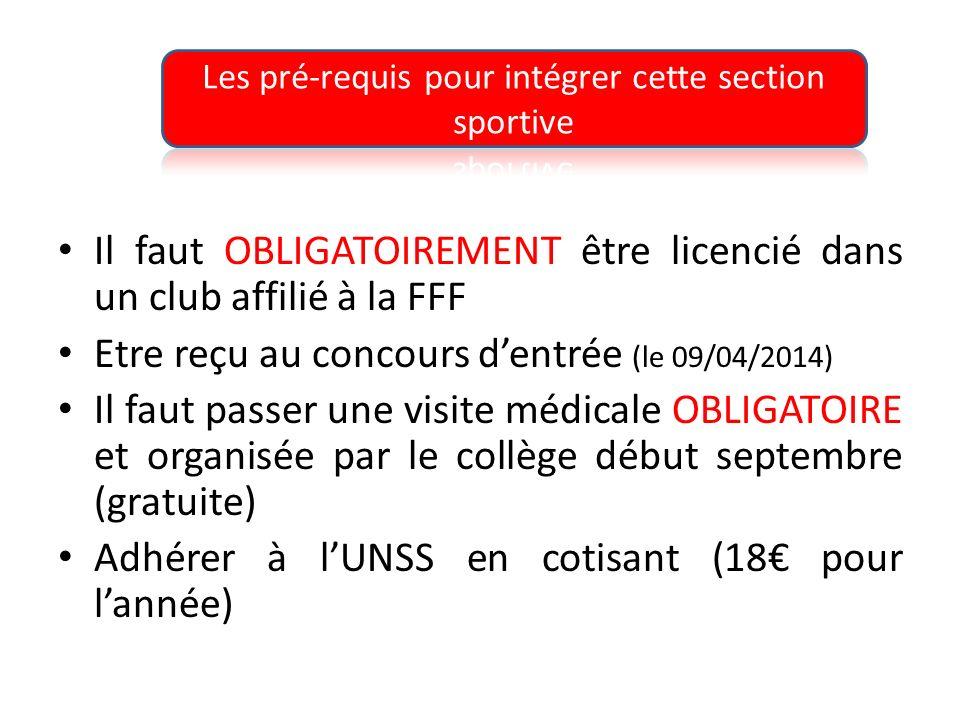Il faut OBLIGATOIREMENT être licencié dans un club affilié à la FFF Etre reçu au concours dentrée (le 09/04/2014) Il faut passer une visite médicale OBLIGATOIRE et organisée par le collège début septembre (gratuite) Adhérer à lUNSS en cotisant (18 pour lannée)