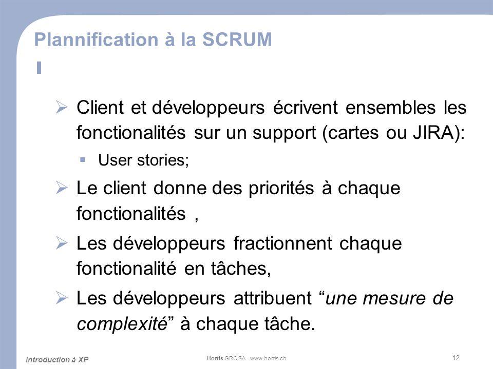 12 Plannification à la SCRUM Client et développeurs écrivent ensembles les fonctionalités sur un support (cartes ou JIRA): User stories; Le client don