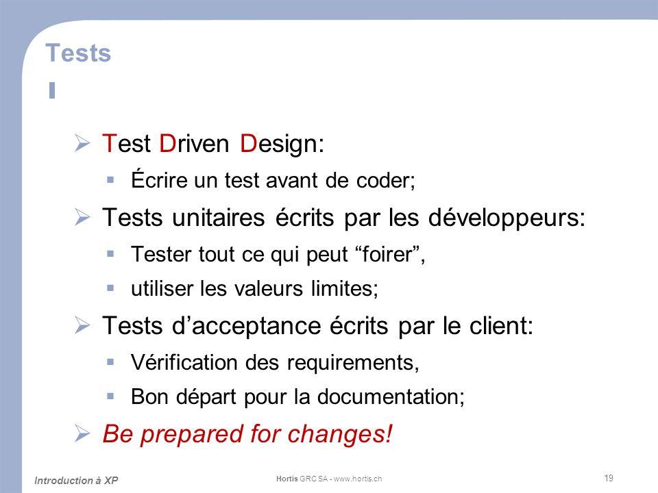 19 Tests Test Driven Design: Écrire un test avant de coder; Tests unitaires écrits par les développeurs: Tester tout ce qui peut foirer, utiliser les