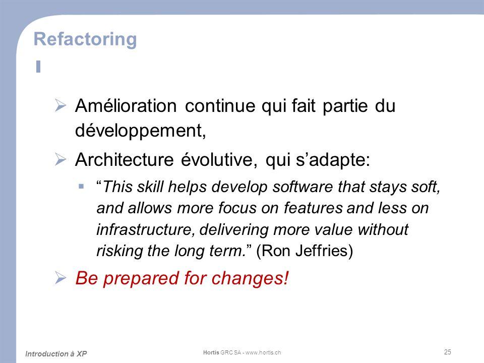 25 Refactoring Amélioration continue qui fait partie du développement, Architecture évolutive, qui sadapte: This skill helps develop software that sta