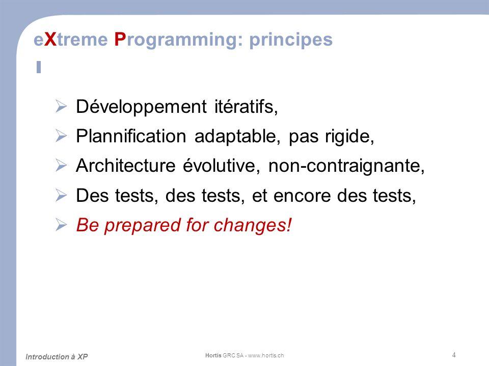 4 eXtreme Programming: principes Développement itératifs, Plannification adaptable, pas rigide, Architecture évolutive, non-contraignante, Des tests,