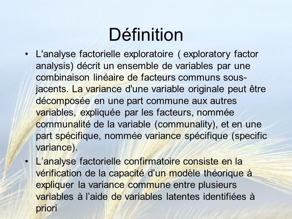 Définition L'analyse factorielle exploratoire ( exploratory factor analysis) décrit un ensemble de variables par une combinaison linéaire de facteurs