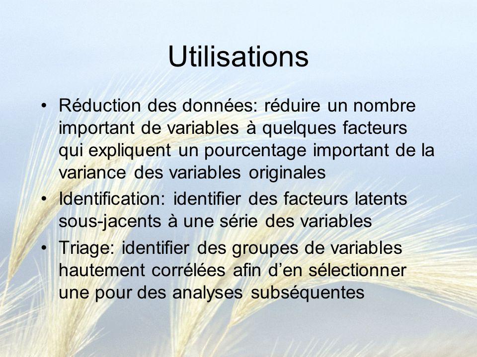Utilisations Réduction des données: réduire un nombre important de variables à quelques facteurs qui expliquent un pourcentage important de la varianc