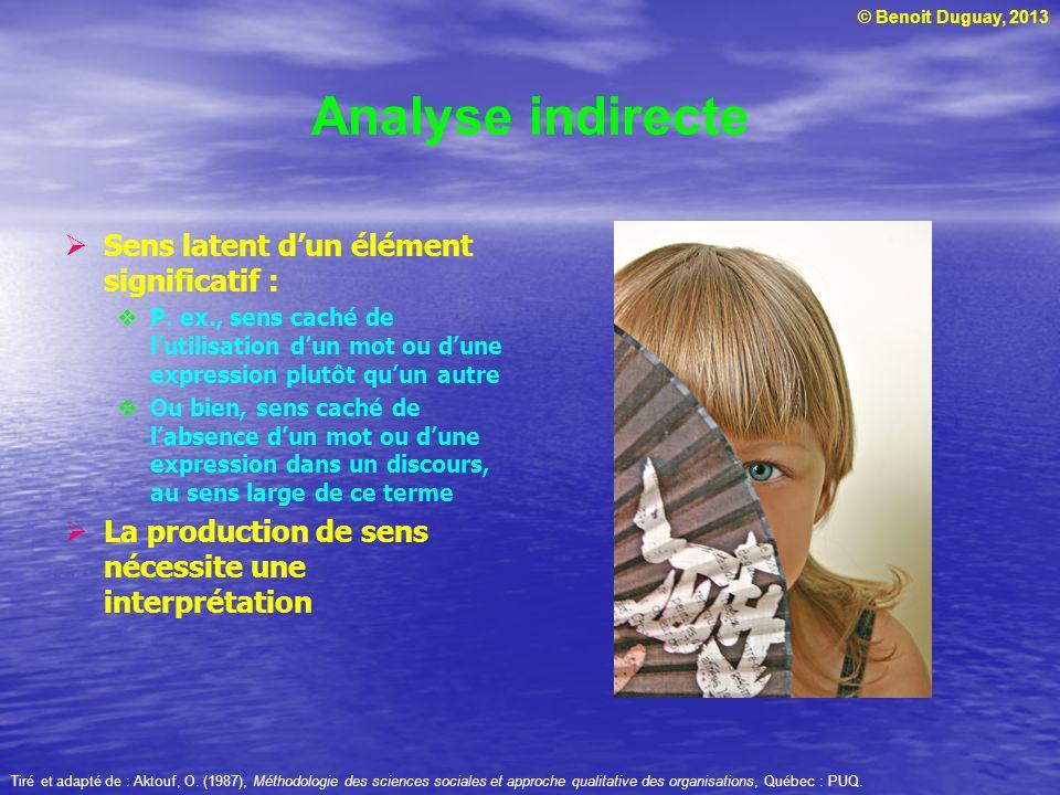 © Benoit Duguay, 2013 Analyse indirecte Sens latent dun élément significatif : P. ex., sens caché de lutilisation dun mot ou dune expression plutôt qu