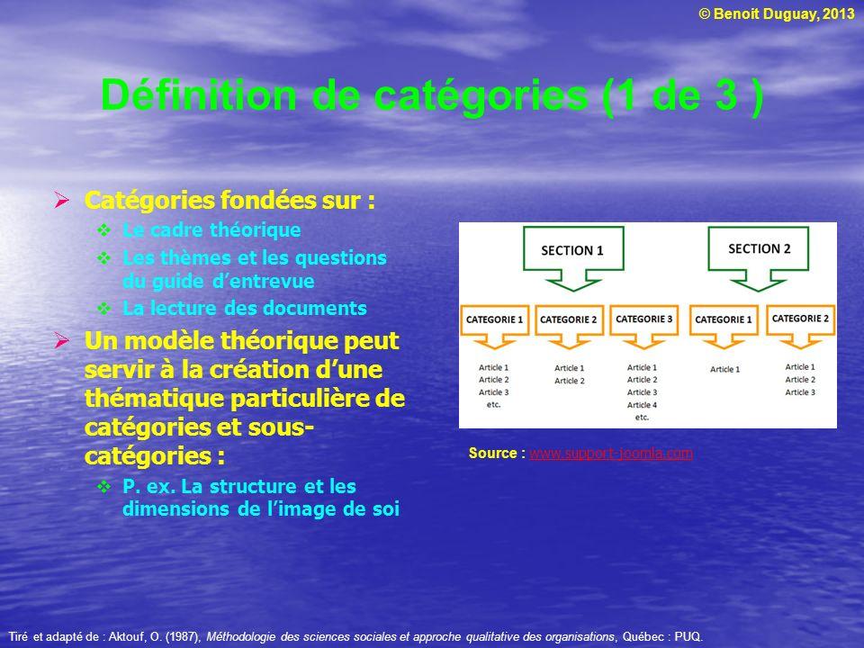 © Benoit Duguay, 2013 Définition de catégories (1 de 3 ) Catégories fondées sur : Le cadre théorique Les thèmes et les questions du guide dentrevue La