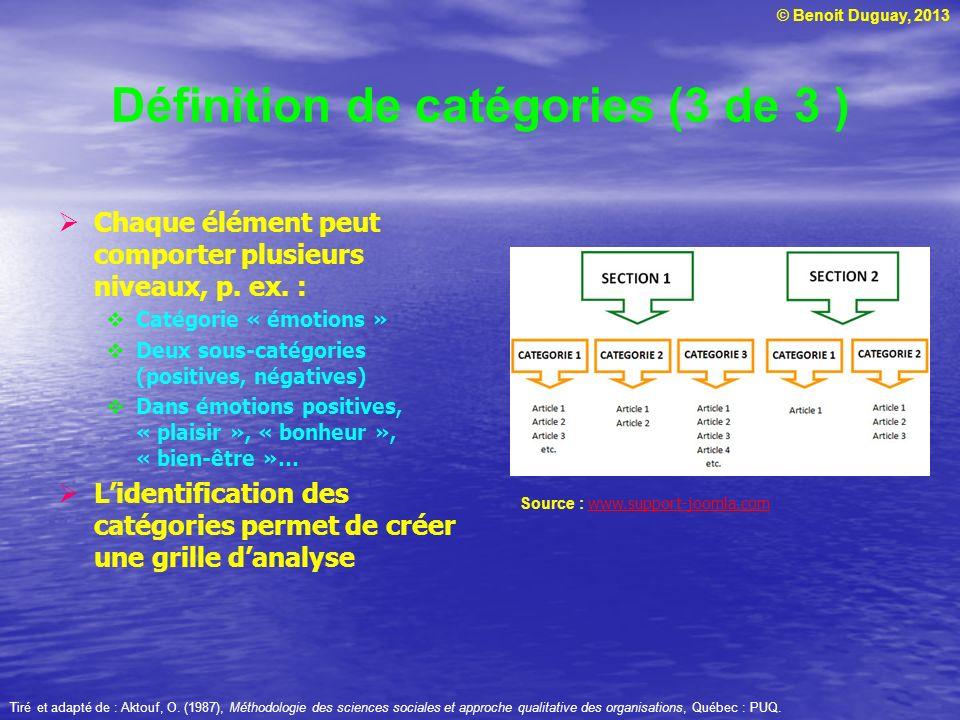 © Benoit Duguay, 2013 Définition de catégories (3 de 3 ) Chaque élément peut comporter plusieurs niveaux, p. ex. : Catégorie « émotions » Deux sous-ca