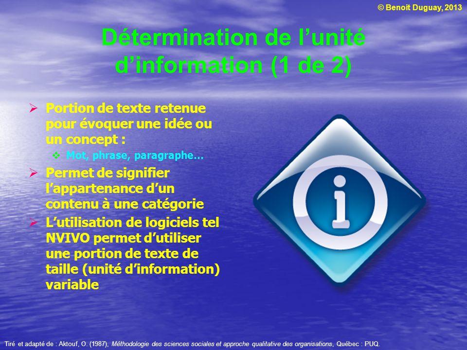 © Benoit Duguay, 2013 Détermination de lunité dinformation (1 de 2) Portion de texte retenue pour évoquer une idée ou un concept : Mot, phrase, paragr