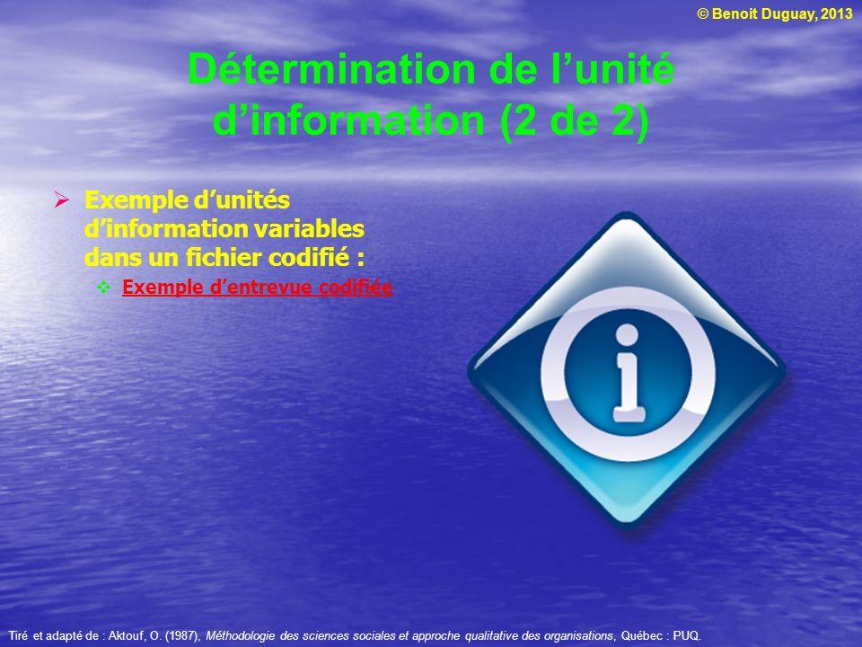 © Benoit Duguay, 2013 Détermination de lunité dinformation (2 de 2) Exemple dunités dinformation variables dans un fichier codifié : Exemple dentrevue codifiée Tiré et adapté de : Aktouf, O.