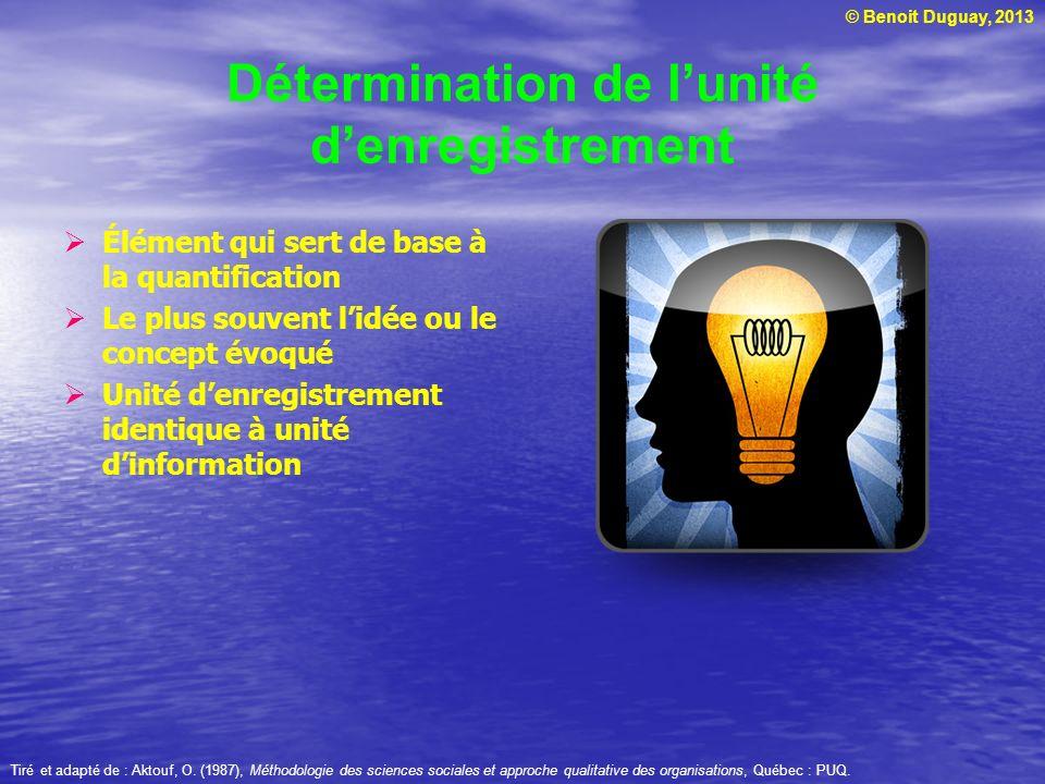 © Benoit Duguay, 2013 Détermination de lunité denregistrement Élément qui sert de base à la quantification Le plus souvent lidée ou le concept évoqué