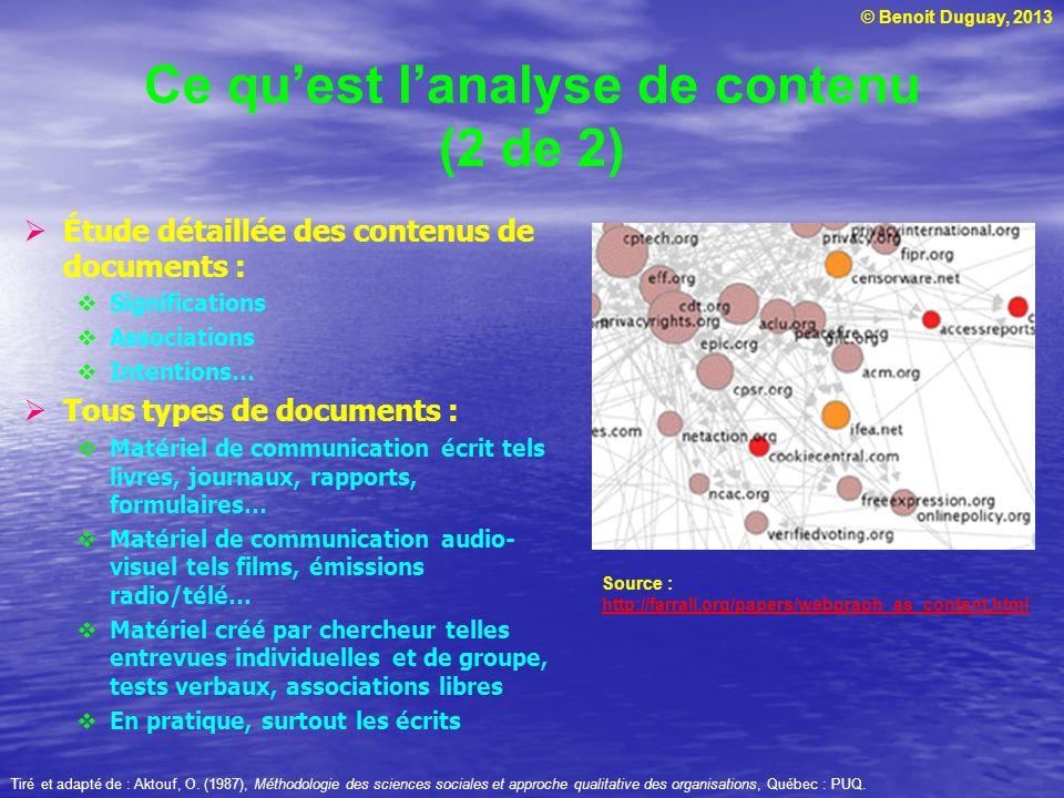 © Benoit Duguay, 2013 Ce quest lanalyse de contenu (2 de 2) Étude détaillée des contenus de documents : Significations Associations Intentions… Tous t