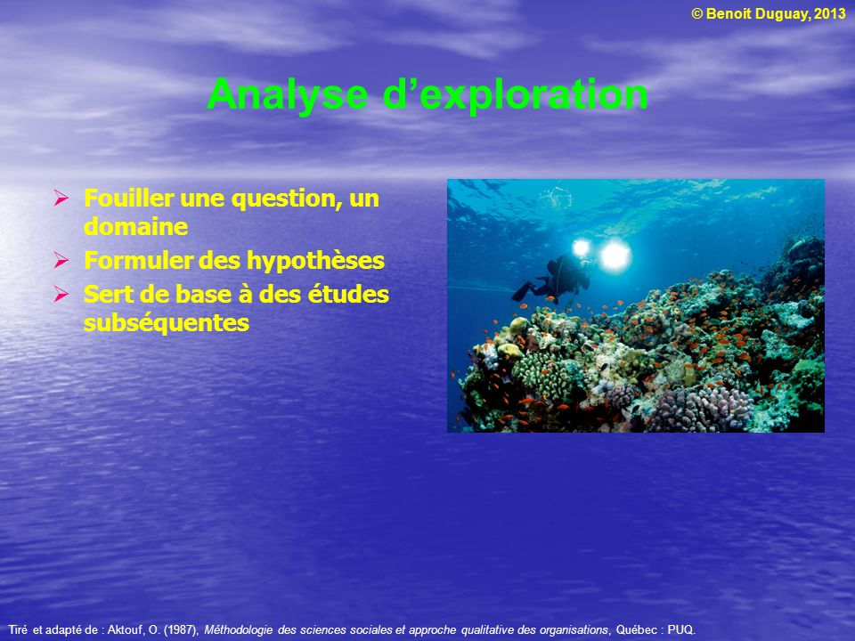 © Benoit Duguay, 2013 Analyse dexploration Fouiller une question, un domaine Formuler des hypothèses Sert de base à des études subséquentes Tiré et ad