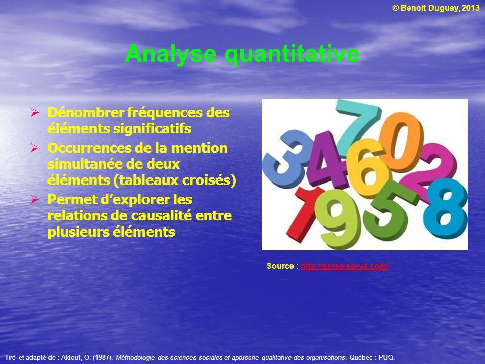 © Benoit Duguay, 2013 Analyse quantitative Dénombrer fréquences des éléments significatifs Occurrences de la mention simultanée de deux éléments (tabl