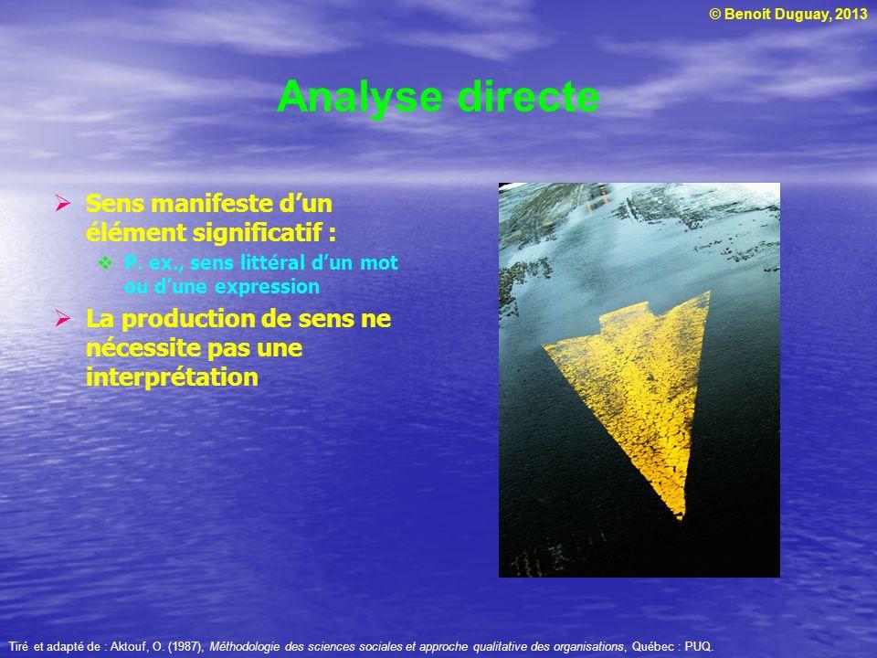 © Benoit Duguay, 2013 Analyse directe Sens manifeste dun élément significatif : P. ex., sens littéral dun mot ou dune expression La production de sens