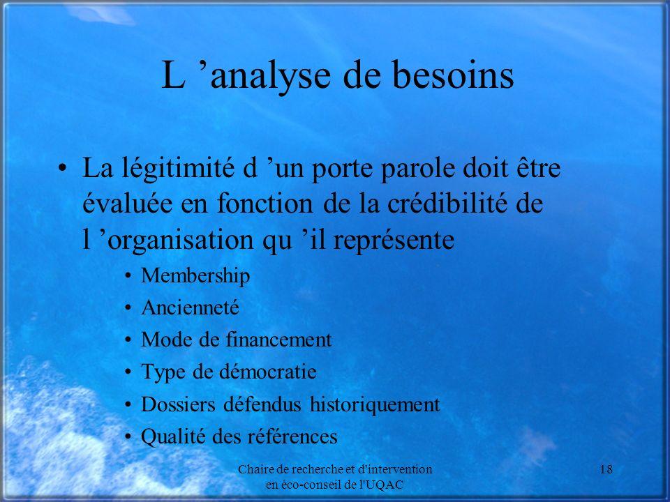 Chaire de recherche et d'intervention en éco-conseil de l'UQAC 18 L analyse de besoins La légitimité d un porte parole doit être évaluée en fonction d
