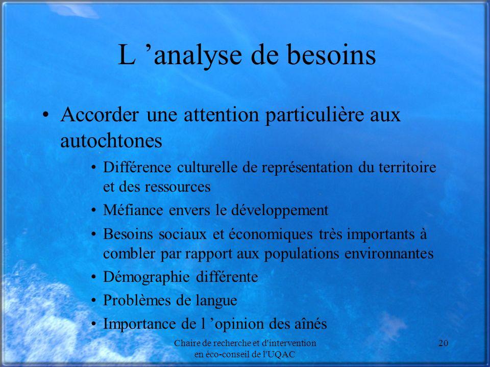 Chaire de recherche et d'intervention en éco-conseil de l'UQAC 20 L analyse de besoins Accorder une attention particulière aux autochtones Différence
