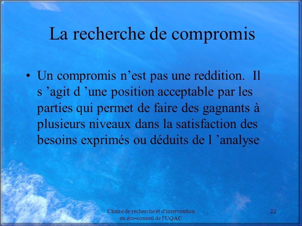 Chaire de recherche et d'intervention en éco-conseil de l'UQAC 22 La recherche de compromis Un compromis nest pas une reddition. Il s agit d une posit