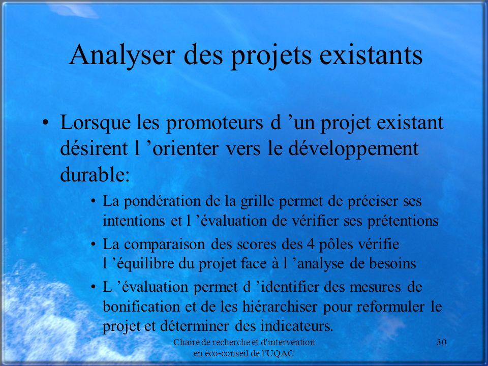 Chaire de recherche et d'intervention en éco-conseil de l'UQAC 30 Analyser des projets existants Lorsque les promoteurs d un projet existant désirent