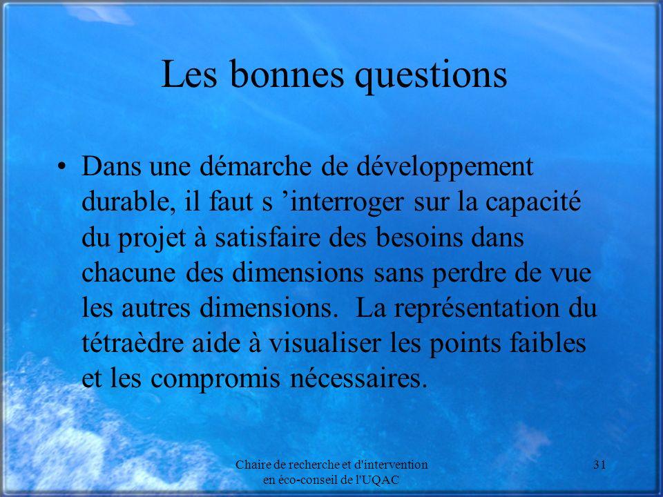 Chaire de recherche et d intervention en éco-conseil de l UQAC 31 Les bonnes questions Dans une démarche de développement durable, il faut s interroger sur la capacité du projet à satisfaire des besoins dans chacune des dimensions sans perdre de vue les autres dimensions.