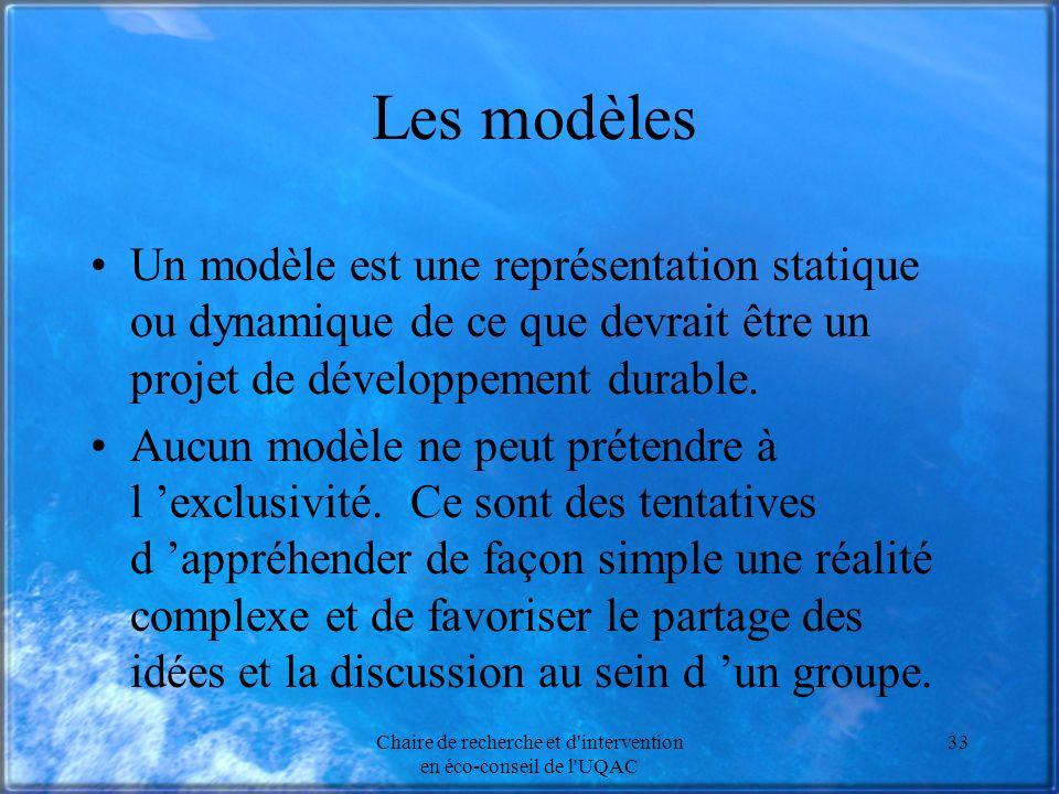 Chaire de recherche et d'intervention en éco-conseil de l'UQAC 33 Les modèles Un modèle est une représentation statique ou dynamique de ce que devrait
