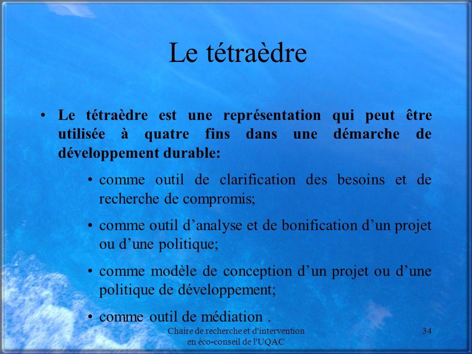 Chaire de recherche et d'intervention en éco-conseil de l'UQAC 34 Le tétraèdre Le tétraèdre est une représentation qui peut être utilisée à quatre fin