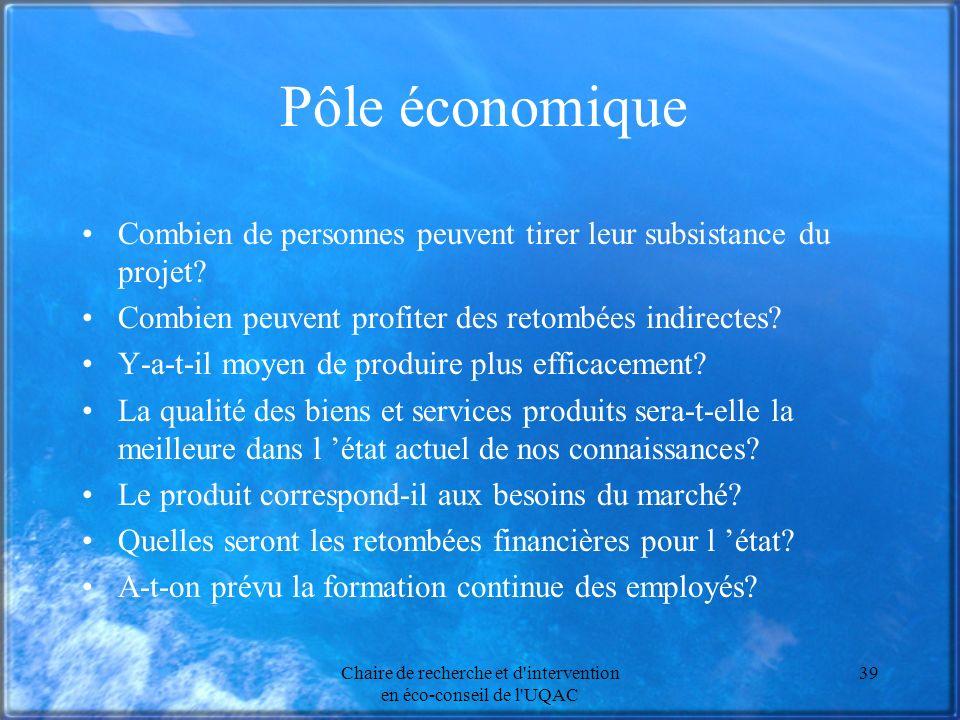 Chaire de recherche et d'intervention en éco-conseil de l'UQAC 39 Pôle économique Combien de personnes peuvent tirer leur subsistance du projet? Combi