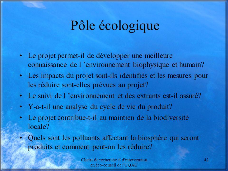 Chaire de recherche et d intervention en éco-conseil de l UQAC 42 Pôle écologique Le projet permet-il de développer une meilleure connaissance de l environnement biophysique et humain.