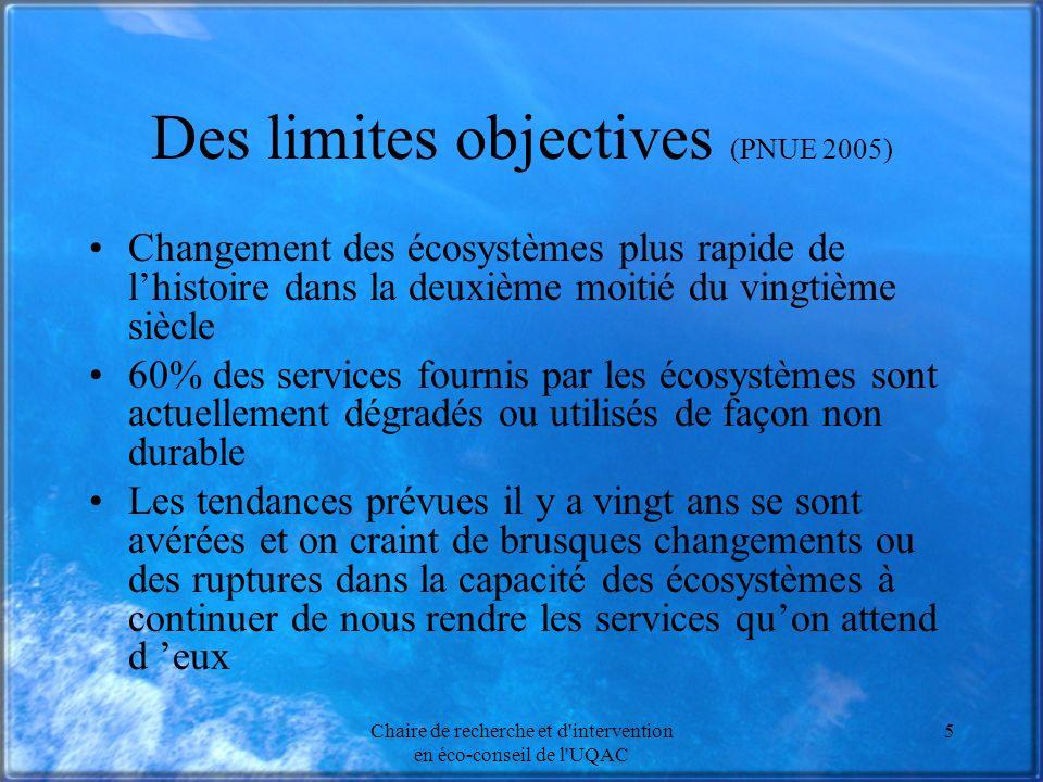 Chaire de recherche et d'intervention en éco-conseil de l'UQAC 5 Des limites objectives (PNUE 2005) Changement des écosystèmes plus rapide de lhistoir