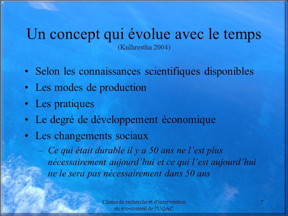 Chaire de recherche et d'intervention en éco-conseil de l'UQAC 7 Un concept qui évolue avec le temps (Kulhrestha 2004) Selon les connaissances scienti