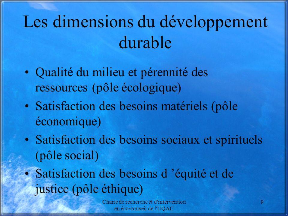 Chaire de recherche et d'intervention en éco-conseil de l'UQAC 9 Les dimensions du développement durable Qualité du milieu et pérennité des ressources