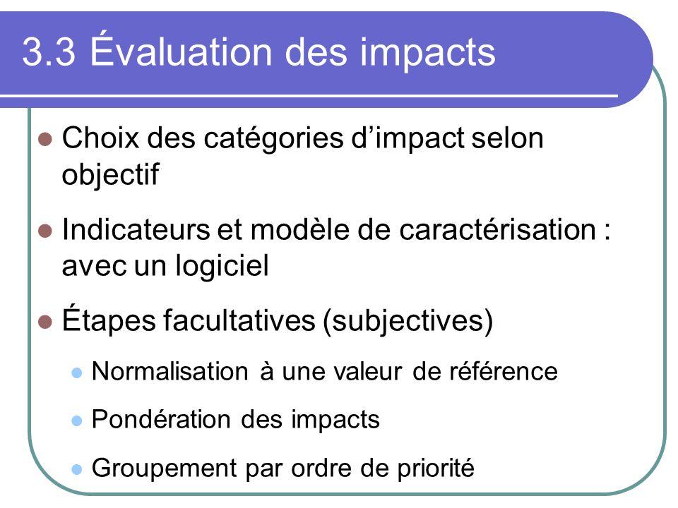 3.3Évaluation des impacts Choix des catégories dimpact selon objectif Indicateurs et modèle de caractérisation : avec un logiciel Étapes facultatives (subjectives) Normalisation à une valeur de référence Pondération des impacts Groupement par ordre de priorité