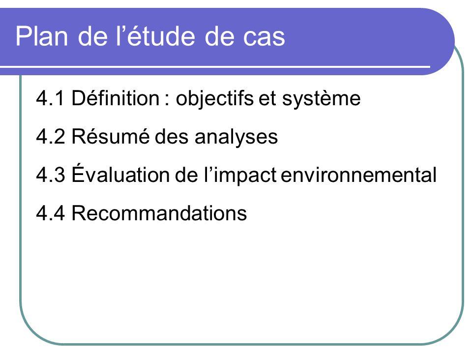Plan de létude de cas 4.1 Définition : objectifs et système 4.2 Résumé des analyses 4.3 Évaluation de limpact environnemental 4.4 Recommandations