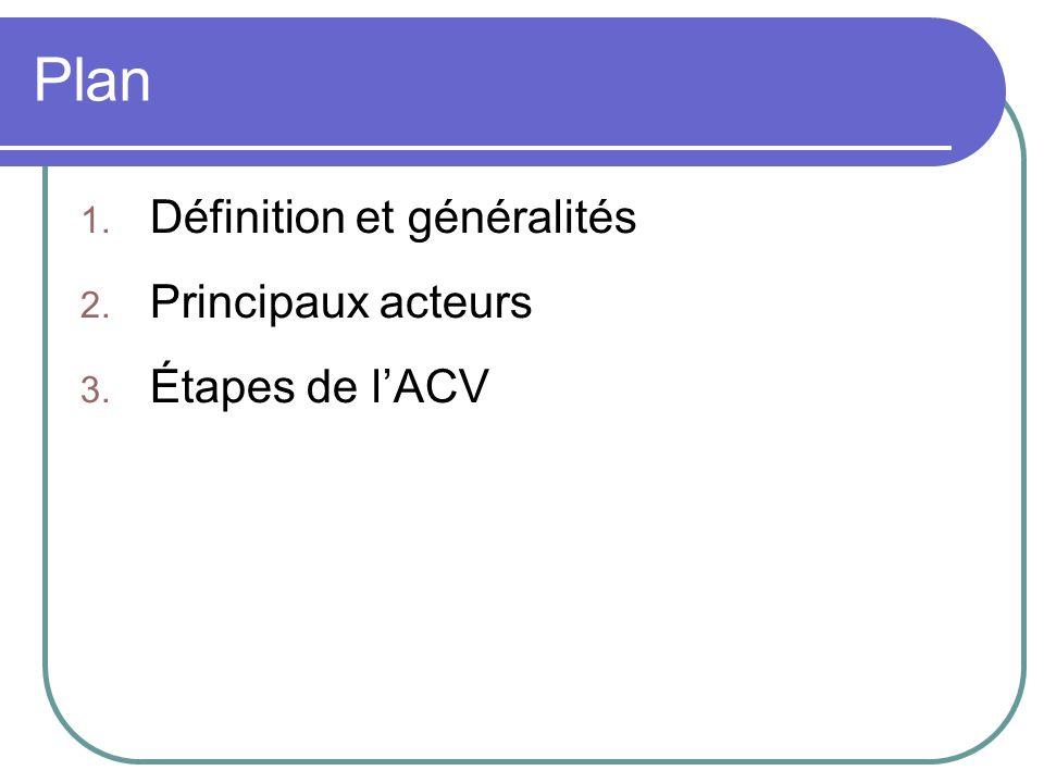 Plan 1. Définition et généralités 2. Principaux acteurs 3. Étapes de lACV