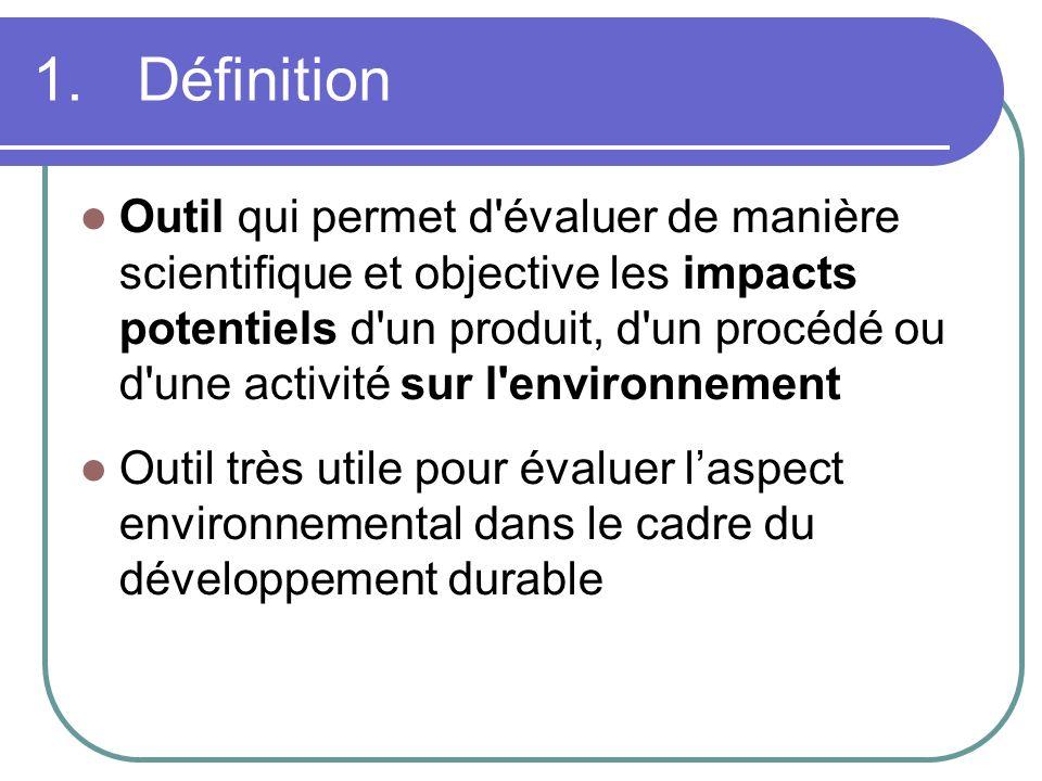 1. Définition Outil qui permet d'évaluer de manière scientifique et objective les impacts potentiels d'un produit, d'un procédé ou d'une activité sur