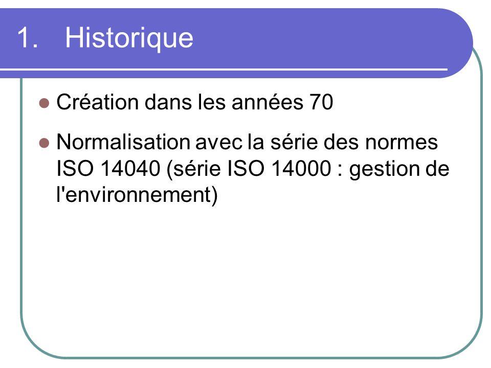 1. Historique Création dans les années 70 Normalisation avec la série des normes ISO 14040 (série ISO 14000 : gestion de l'environnement)