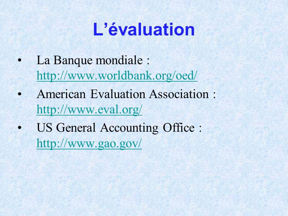 Lévaluation La Banque mondiale : http://www.worldbank.org/oed/ http://www.worldbank.org/oed/ American Evaluation Association : http://www.eval.org/ ht