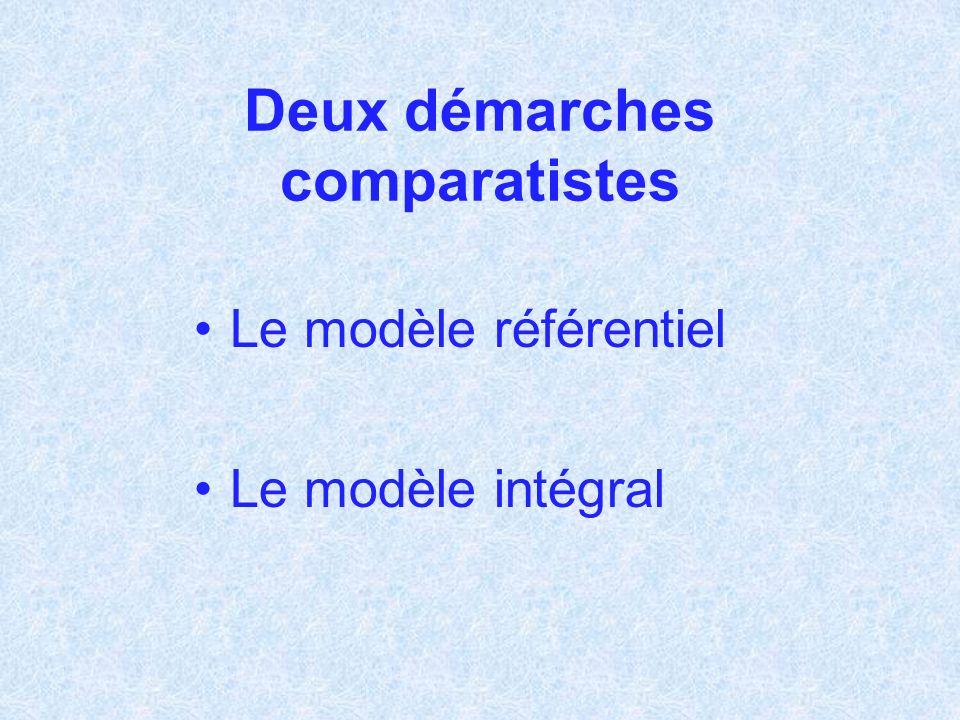 Deux démarches comparatistes Le modèle référentiel Le modèle intégral