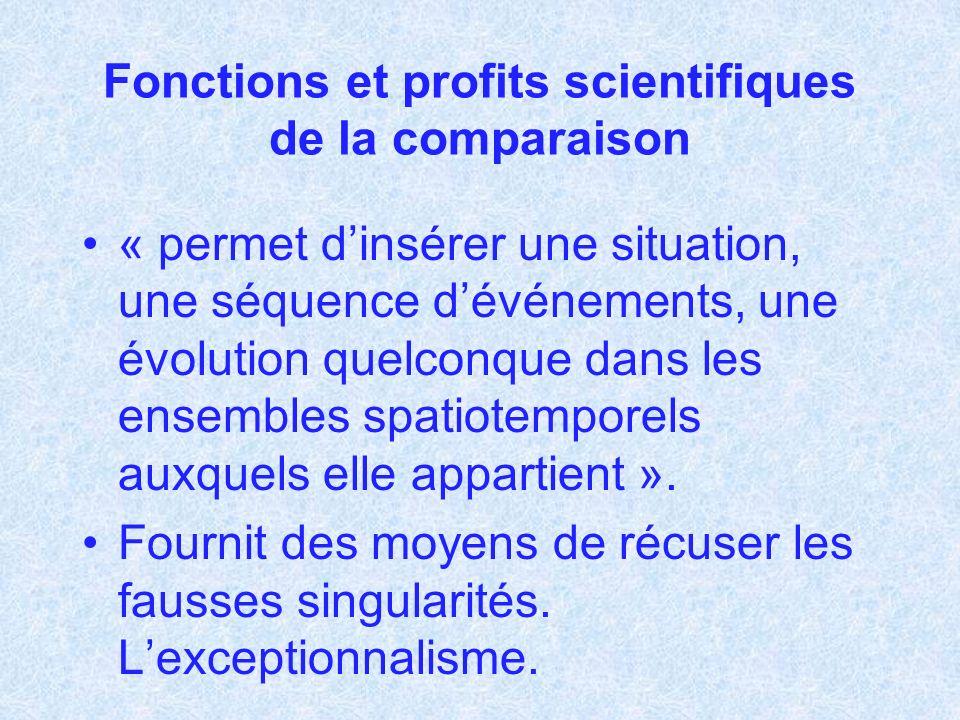 Fonctions et profits scientifiques de la comparaison « permet dinsérer une situation, une séquence dévénements, une évolution quelconque dans les ense
