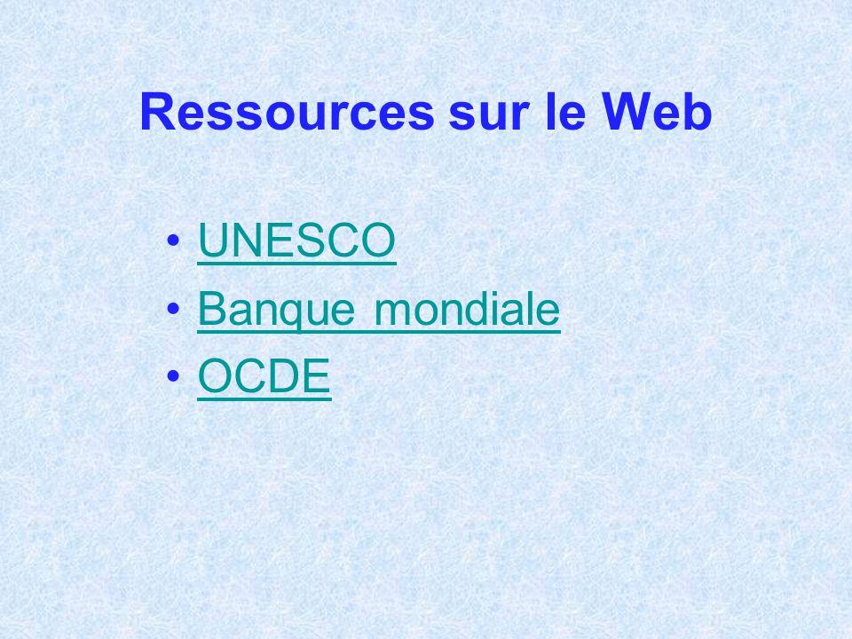 Ressources sur le Web UNESCO Banque mondiale OCDE