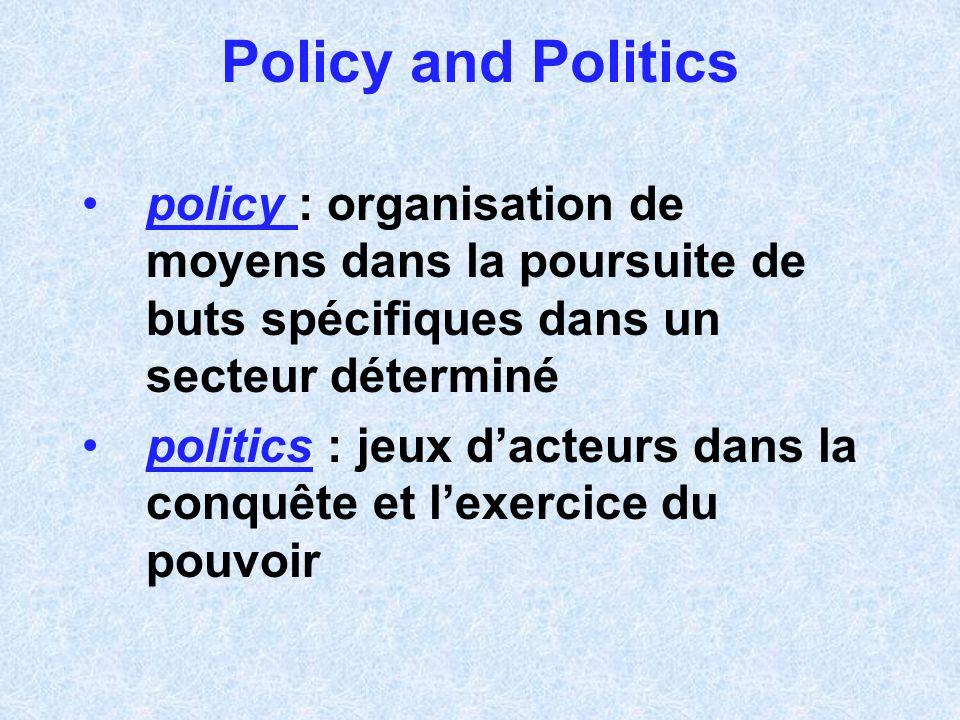 Policy and Politics policy : organisation de moyens dans la poursuite de buts spécifiques dans un secteur déterminé politics : jeux dacteurs dans la c