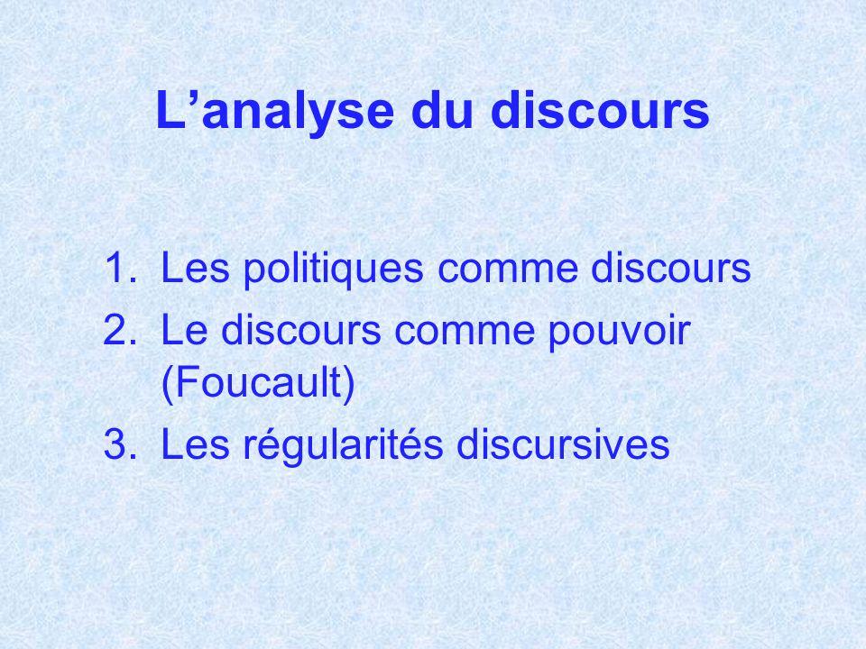 Lanalyse du discours 1.Les politiques comme discours 2.Le discours comme pouvoir (Foucault) 3.Les régularités discursives