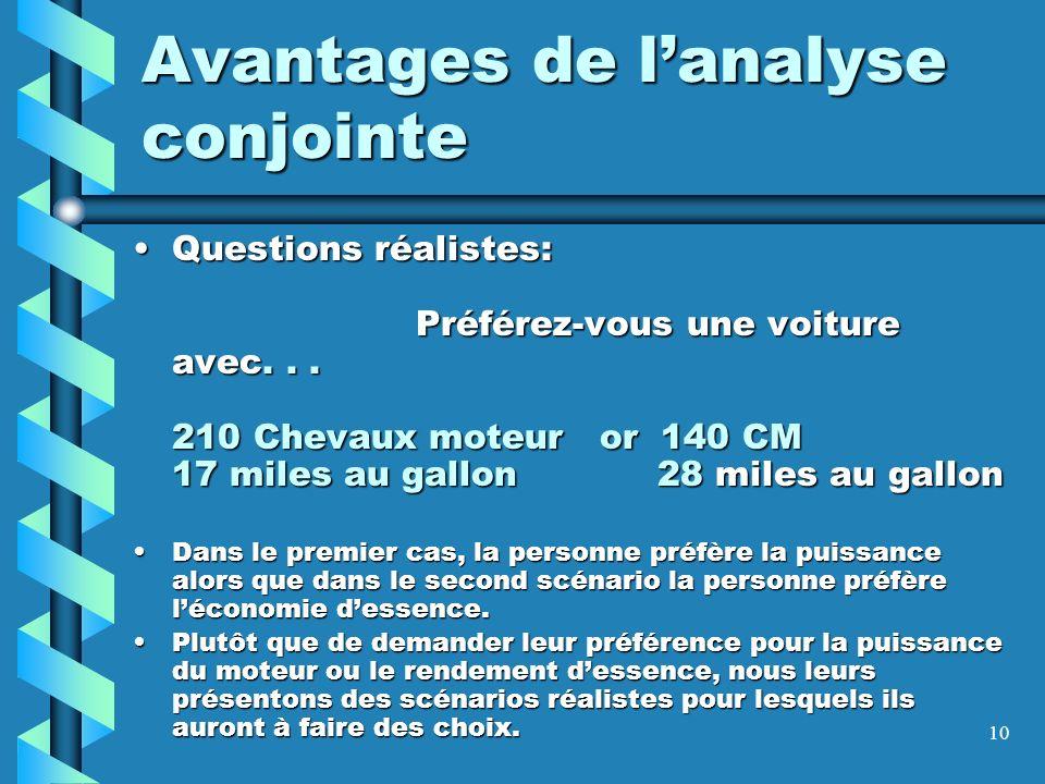 10 Avantages de lanalyse conjointe Questions réalistes: Préférez-vous une voiture avec... 210 Chevaux moteur or 140 CM 17 miles au gallon 28 miles au