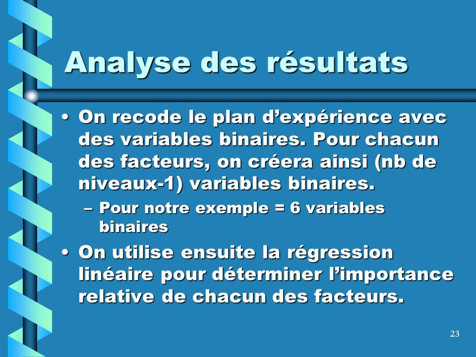 23 Analyse des résultats On recode le plan dexpérience avec des variables binaires. Pour chacun des facteurs, on créera ainsi (nb de niveaux-1) variab